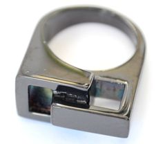 Ladies Chunky Cocktail Ring Size 10 T Black Abstract Square Stainless Steel New