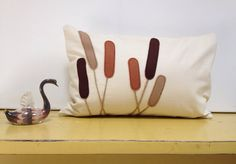 Ombre cattails pillow cover by Home Inc. Cream Linen with felt applique. Custom made in your choice of colors!