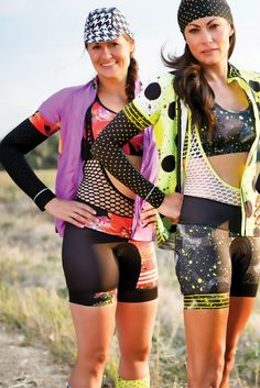 Creative cycling apparel for women by Shebeest. These kits are perfect for indoor cycling, outdoor cycling, mountain biking clothes, triathlon gear, or spin class clothes. #womenscycling