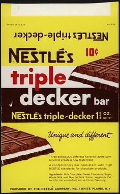 Nestle's - Triple Decker 10-cent candy bar wrapper proof - 1960's by JasonLiebig, via Flickr