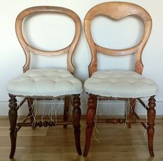 Victorian balloon back chairs restored and upholstered to calico stage.