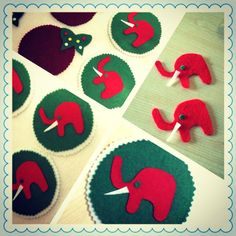 Elephant Felt mat  4 x 4  6 pcs by LookAtMeWhatIMade on Etsy, $10.00