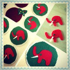 Elephant Felt mat  4 x 4  6 pcs by LookAtMeWhatIMade on Etsy, $10.00