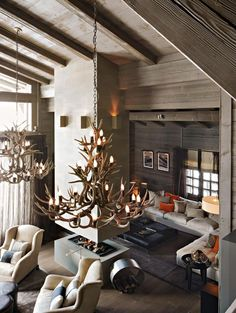 Living room design by Kelly Hoppen at the Ski Chalet in France #interiordesigner #bestinteriordesigners #interiordesigninspiration home interior design, interior design ideas, interior decorating ideas Visit us at www.luxxu.net