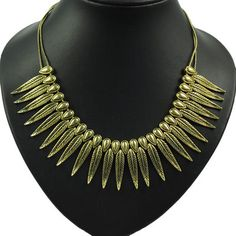 New Style Gold Chain Metal Leaf Pendant Collar Necklace, NL-1731B