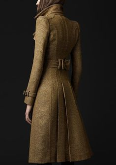 Pleated tweed peacoat