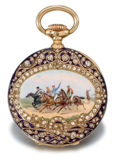 A fine gold, enamel and diamond-set openface keyless lever watch, made for the Indian Market, enamel by Amede Cameo Jewelry, Pendant Jewelry, Antique Jewelry, Vintage Jewelry, Antique Watches, Antique Clocks, Vintage Watches, Pocket Watch Antique, Beautiful Watches