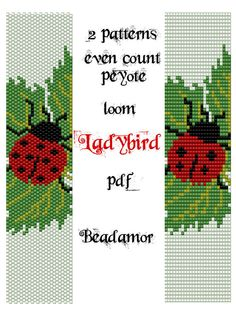 2 Patterns for bracelet peyote and loom : Ladybird- INSTANT DOWNLOAD pdf