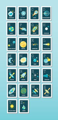ABC espacio temática: 26 individual 4 x 6 por TinyNebulaDesigns