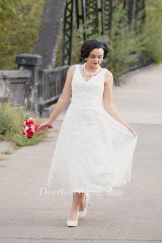 Lace Wedding Tea Length Runaround Sue Dress - Dorris Wedding