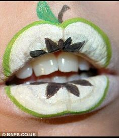 Fruity lips: She began creating designs out of products in her make-up bag when she was 'bored' one night and now has an impressive gallery of work