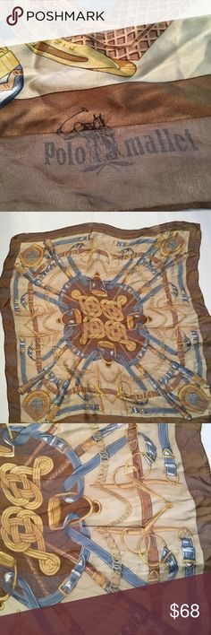 💕💕POLO MALLET SILK SCARF Classic Vintage Polo Mallet 100% Silk Scarf , Great Preowned Condition , ( My Mom ) , Equestrian Theme 💕💕 POLO Accessories Scarves & Wraps