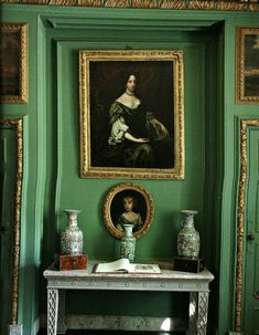 mossy green and gold - the grenville room at prideaux place, in cornwall, england