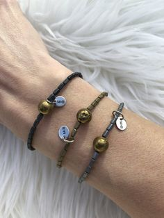All the dainty cuteness right here Matte hematite tiny rectangles Dark Gray, Gold and Light Gray Gold druzy stones Sterling Silver m+b charm added to each Arrow Keys, Sterling Silver, Stone, Classic, Bracelets, Gold, Jewelry, Derby, Rock