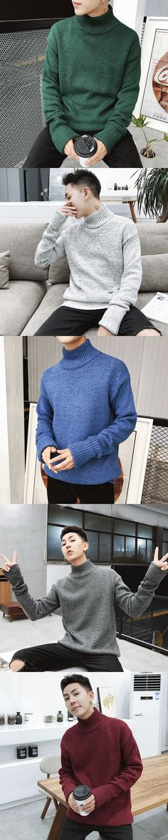 2017 New Men's High Collared Knitted long hooded cardigan woolen pullover turtleneck men clothing knit sweater Promotion