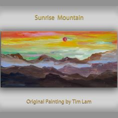 Items similar to Original art Abstract Painting large Oil Painting, blue mountain skyline Landscape Painting Rising Sun by tim lam on Etsy Sunrise Mountain, Blue Mountain, Original Art, Original Paintings, Landscape Paintings, Acrylic Paintings, Contemporary Artists, Abstract Art, Oil