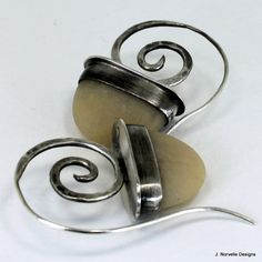 Sterling Silver Spiral Earrings  Spiral Hoops  Tribal by jnorvelle, $110.00