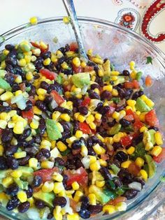 Black bean, corn and avocado salad recipe...PERFECT appetizer or side for a summer BBQ