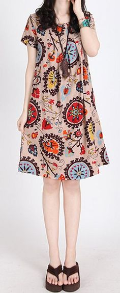 Women loose fit plus size dress flower floral skater casual summer fashion skirt #unbranded