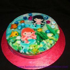 Mermaid Gelatine/ Jelly/ Gelatina Decorada Jelly, Mermaid, Birthday Cake, Desserts, Food, Tailgate Desserts, Marmalade, Birthday Cakes, Dessert