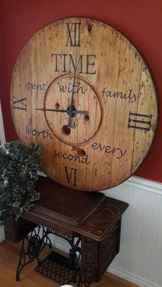 "48"" Wood spool clock"