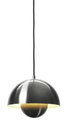 Crick & Watson - Flower Pot Lamp Brushed Stainless Steel, &tradition, crick & watson Hall Lighting, Interior Lighting, Kitchen Lighting, Lighting Design, Bathroom Lighting, Brushed Stainless Steel, Mid Century Furniture, Case Study, Cool Furniture