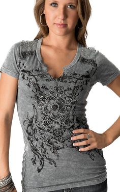 Petrol® Women's Grey Vintage Wash with Floral Rhinestone Print Short Sleeve V-Neck Tee