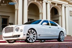 White Bentley Mulsanne On 24-Inch Vellano Wheels