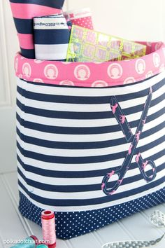 "Make a set of these fabric baskets to contain all of your sewing tools and notions! ""Never Full"" Fabric Basket Sewing Tutorial by Melissa of polkadotchair.com"