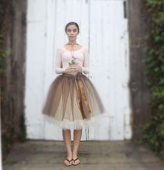 Brown and ivory tulle skirt for women. Wide door TutusChicOriginals