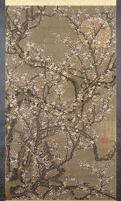 "Itō Jakuchū (Japanese, 1716–1800). White Plum Blossoms and Moon, 1755. Edo period (1615–1868). Japan. The Metropolitan Museum of Art, New York. Mary Griggs Burke Collection, Gift of the Mary and Jackson Burke Foundation, 2015 (2015.300.213) | This work is exhibited in the ""Celebrating the Arts of Japan: The Mary Griggs Burke Collection"" exhibition, on view through January 22, 2017 #AsianArt100"