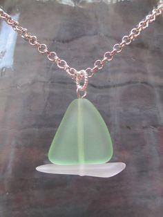 Sea Glass Jewelry  Sailboat Necklace  Nautical Jewelry