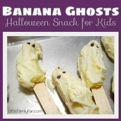 Try with normal chocolate too!  Little Family Fun: Banana Ghosts  Basically, you   cut bananas in half,   put in a popsicle stick,  dip in melted white chocolate,  place on wax paper,  add eyes using jelly beans, m, or chocolate chips!      You can freeze them, or eat them as soon as the chocolate sets.  The boys thought it was so fun to make these, and they were quite yummy too!