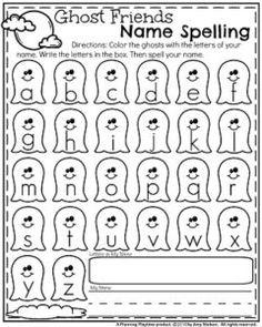 Preschool Name worksheets for October - ghost friends name spelling.