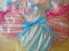 Hot Pink and Tiffany Blue Chocolate Covered Oreos Cookies Baby Boy Baby Girl Twins Baby Shower Party Favors Christening Cotton Candy Theme. $16.00, via Etsy.