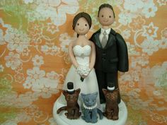 Custom Made Bride And Groom With Cats Wedding Cake by mudcards, $165.00