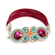 bransoletka Soutache Bracelet, Soutache Jewelry, Beaded Jewelry, Collar Diy, Handmade Necklaces, Handmade Jewelry, Passementerie, Polymer Clay Charms, Ring Necklace