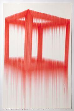 Evan Roberts. Cube, Red. 2011 Marker, gloss medium on paper 26 x 40