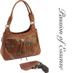 """HP🎉🎉 Outfitter Western Concealed Carry Purse🎀 SALE❗️ Features faux leather tooled paisley body; bolo tie; rhinestone and studded detail; zippered main compartment; interior zippered pocket; 2 storage pockets; 2 gun pocket zippers for right or left hand draw; 1 gun holster; and polished chrome hardware. Measures 13-1/2"""" x 10"""" x 4-1/2"""". Bags Satchels"""