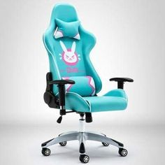 Overwatch D.va DVA Bunny Gaming Computer Swivel Chair Teal for sale online Gaming Computer Desk, Gaming Room Setup, Gaming Chair, Pc Setup, Computer Science, Cute Desk Chair, Chair Drawing, Cute Office, Game Room Design