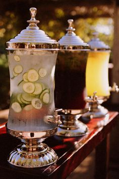 DIY Beach Wedding Inspiration Idea - These marvelous drink dispensers are perfect for delicious Cucumber Water, Sweet Tea & Lemonade for a beach-themed wedding. Summer Wedding, Wedding Reception, Our Wedding, Dream Wedding, Wedding Blog, Wedding Catering, Drinks Wedding, Elegant Wedding, Reception Food