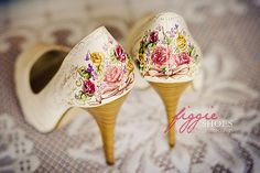 Hand-illustrated shoes by Figgie Shoes. So cute!
