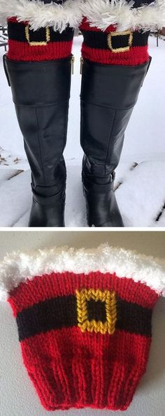 Free Knitting Pattern for Kringle Cuffs - Holiday boot toppers inspired by Santa Claus and trimmed with faux fur yarn or chenille yarn. Designed by Brooke Ada. Pictured project by Jensch42