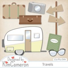 Travels - Camp Travel Trip - Layered PSD Templates with PNG by Kim Cameron for Digital Scrapbooking #CUDigitals