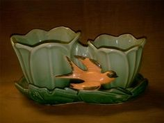 Vintage McCoy Pottery Double Tulip w Swallow Planter Greens Yellow Bird | eBay