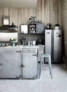 silver and wood kitchen