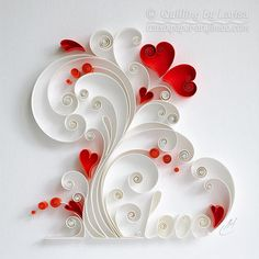 Original Paper Quilling Wall Art - Plant Love. This wall art is my own creation, I made it in a technique graphic quilling. It is entirely handmade, using only cardboard. I cut paper strips by hand. This beautiful design can grace any room, lovely gift for any occasion,anniversary,
