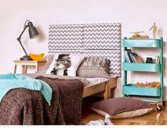 made for bed: modułowe zagłówki - PLN Design Ikea Hack Kids, Ikea Hacks, Blog Bebe, Ikea Raskog, Ikea Inspiration, Teen Girl Rooms, Kid Bedrooms, Ikea Bedroom, Kid Spaces