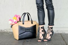 spring fashion/ black and white/ kate spade purse/ tulips/ ootd/ lace heels/ leather pants