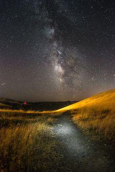 Interstellar by Shong-Na Yang on 500px....... #sky #lake #travel #night #light #road #path #grass #stars #california #dark #fields #longexposure #milkyway #grassland #nightphotography